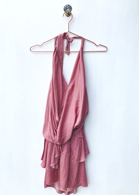 Do + Be Layered Wrap Halter Dress