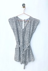 She+ Sky Black Spotted Tie Front Romper