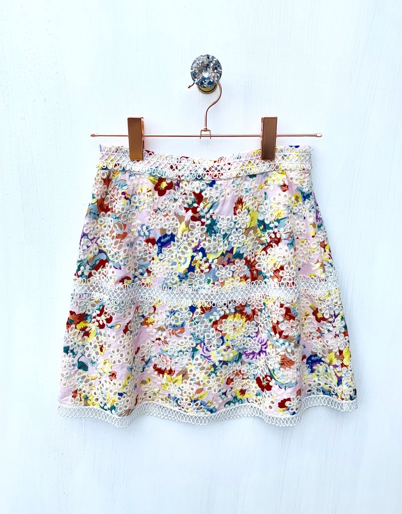 English Eyelet Embroidered Floral Skirt