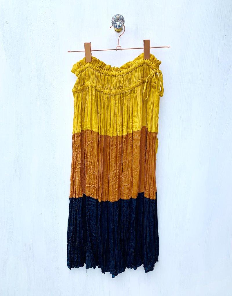 Current Air Crinkled color blocked midi skirt