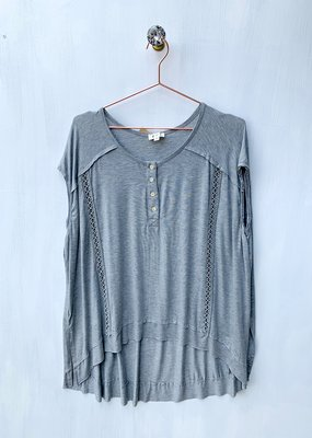 POL Gray oversized drop shoulder