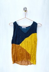 Current Air Crinkled color block s/less top