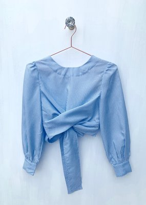 Wrap Blue sear sucker blouse