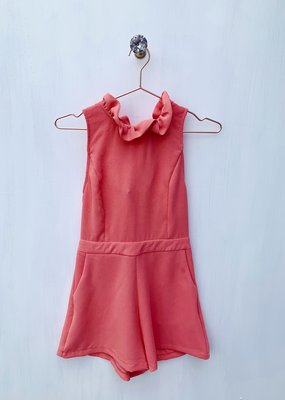 Do + Be Coral Neck Tie Romper