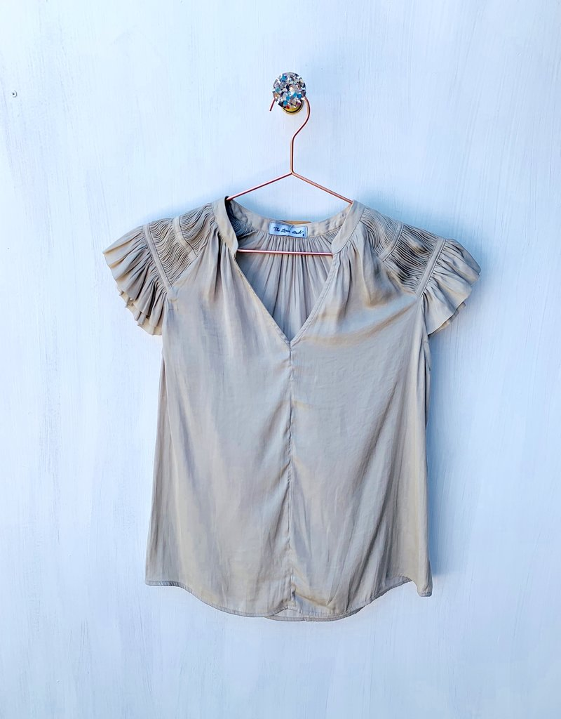 Current Air Smocked Short Sleeve Tan Blouse