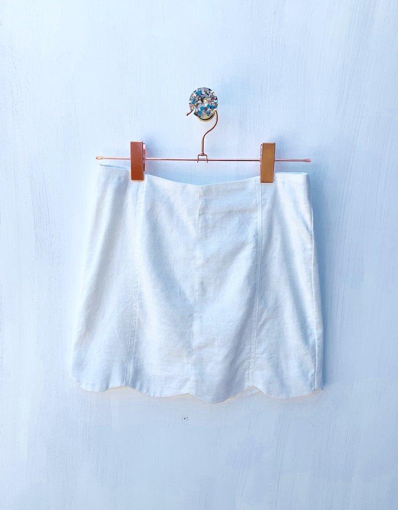 She+ Sky White Scolloped Mini Skirt