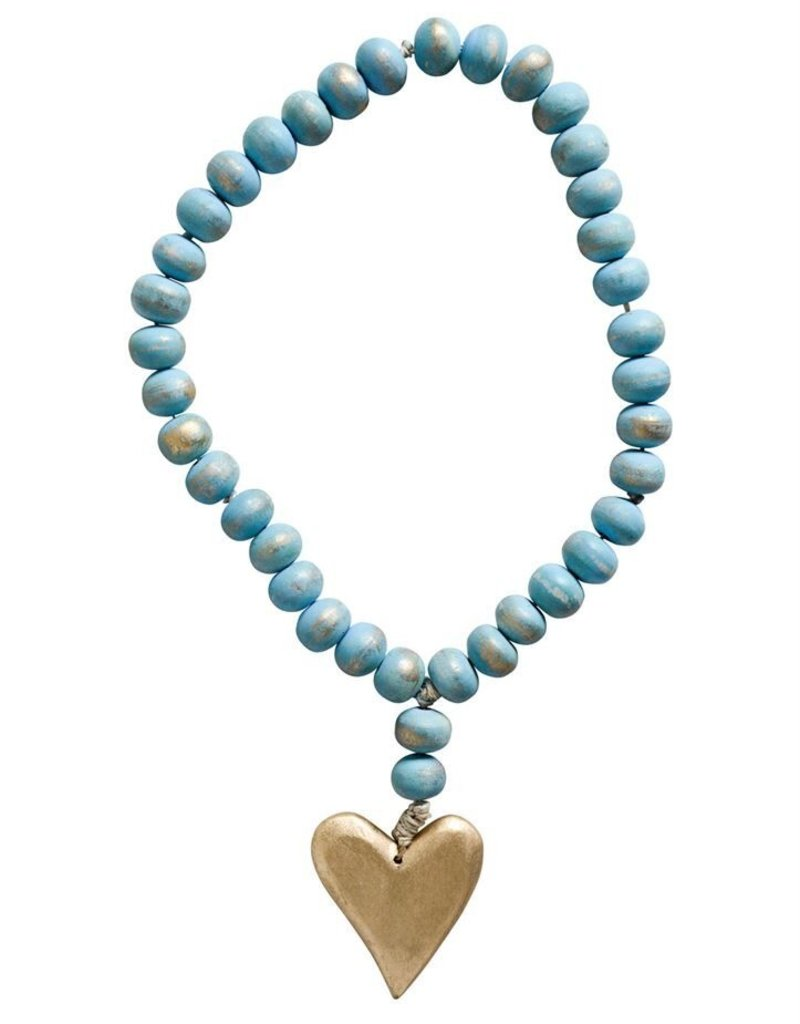 Creative co-op Teal Mango Wood Beads with Gold Heart