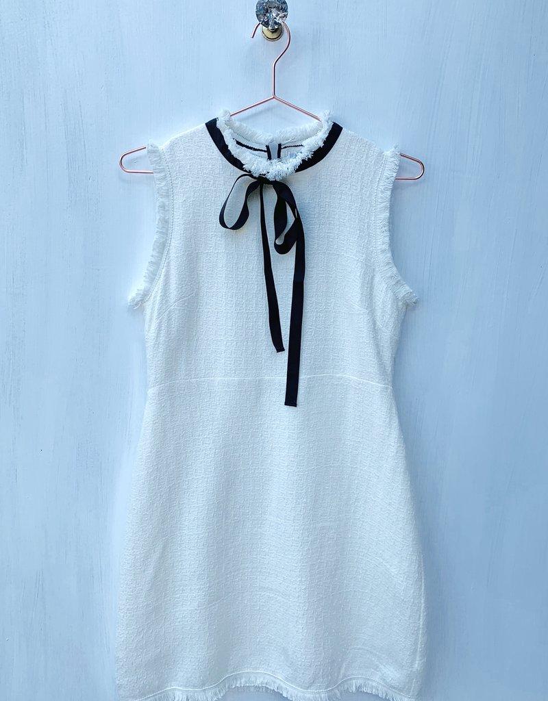Tweed Woven Dress w/Black Tie