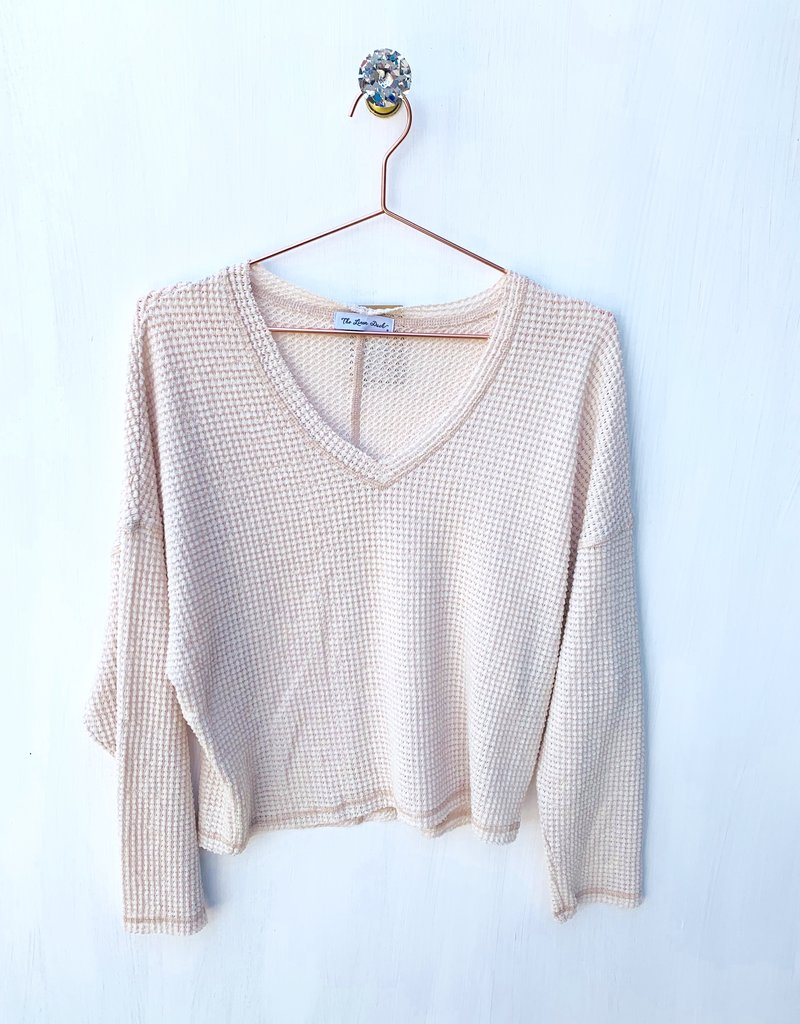 White waffle crop top