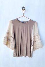 Lace Sleeve Gray Shirt