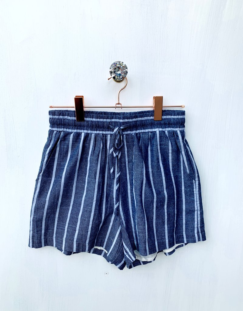 cotton bleu Washed Yarn Cotton Stripe Shorts