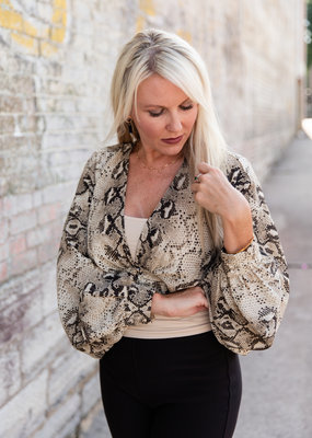 Do + Be Snake Skin Wrap Top