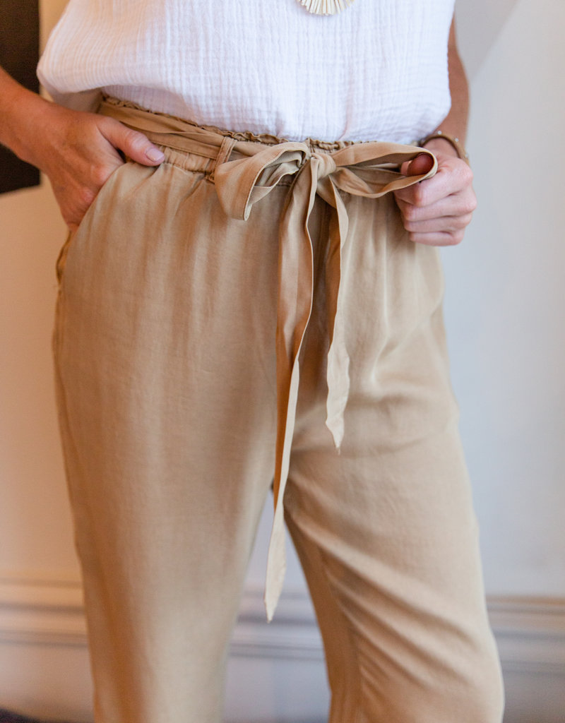 Everly Camel Tie Front Pant