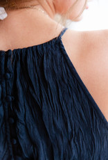 Current Air Pleated Halter Dress with back out