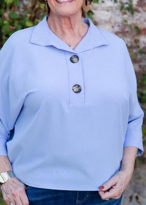 Samantha Jones Button front blue blouse