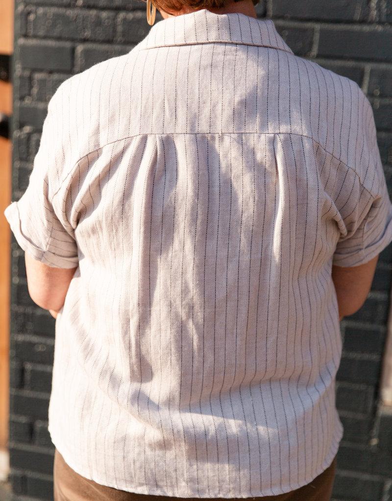 Doe & Rae Stripe button Up shirt