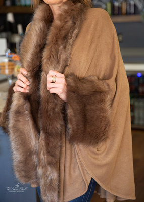 Very moda FAUX FUR TRIM COAT KAHKI