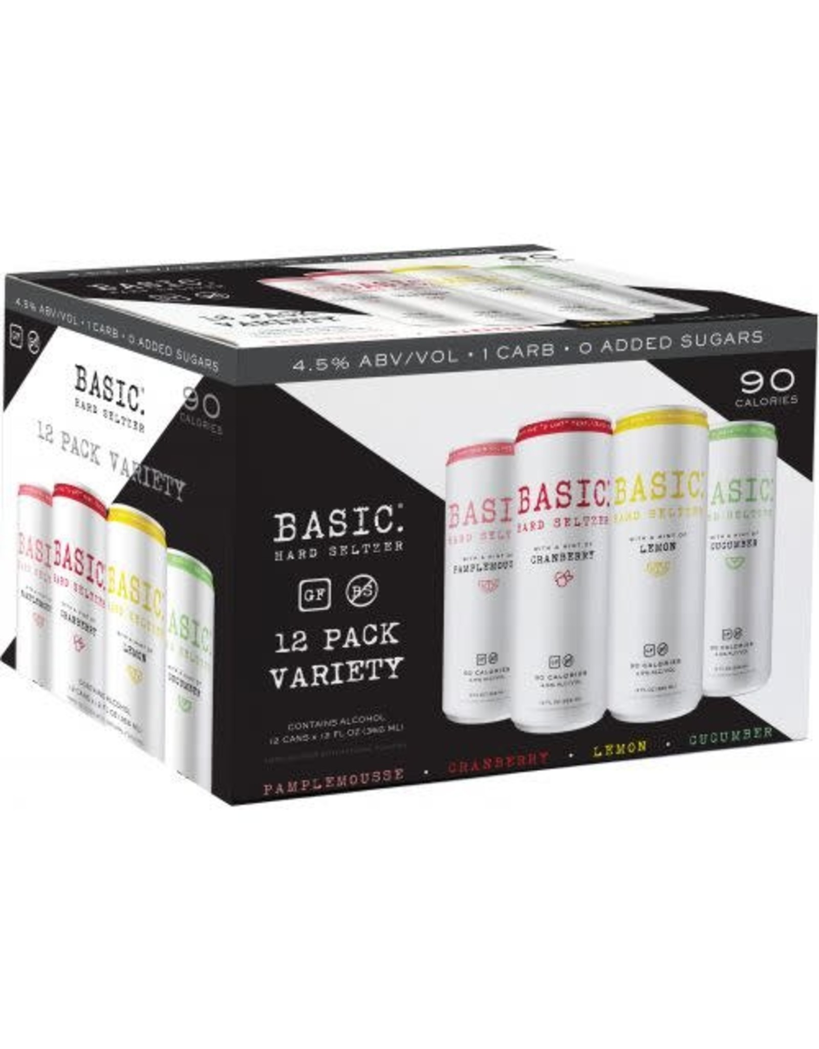 BASIC SELTZER VARIETY PACK 2/12/12 Oz CN