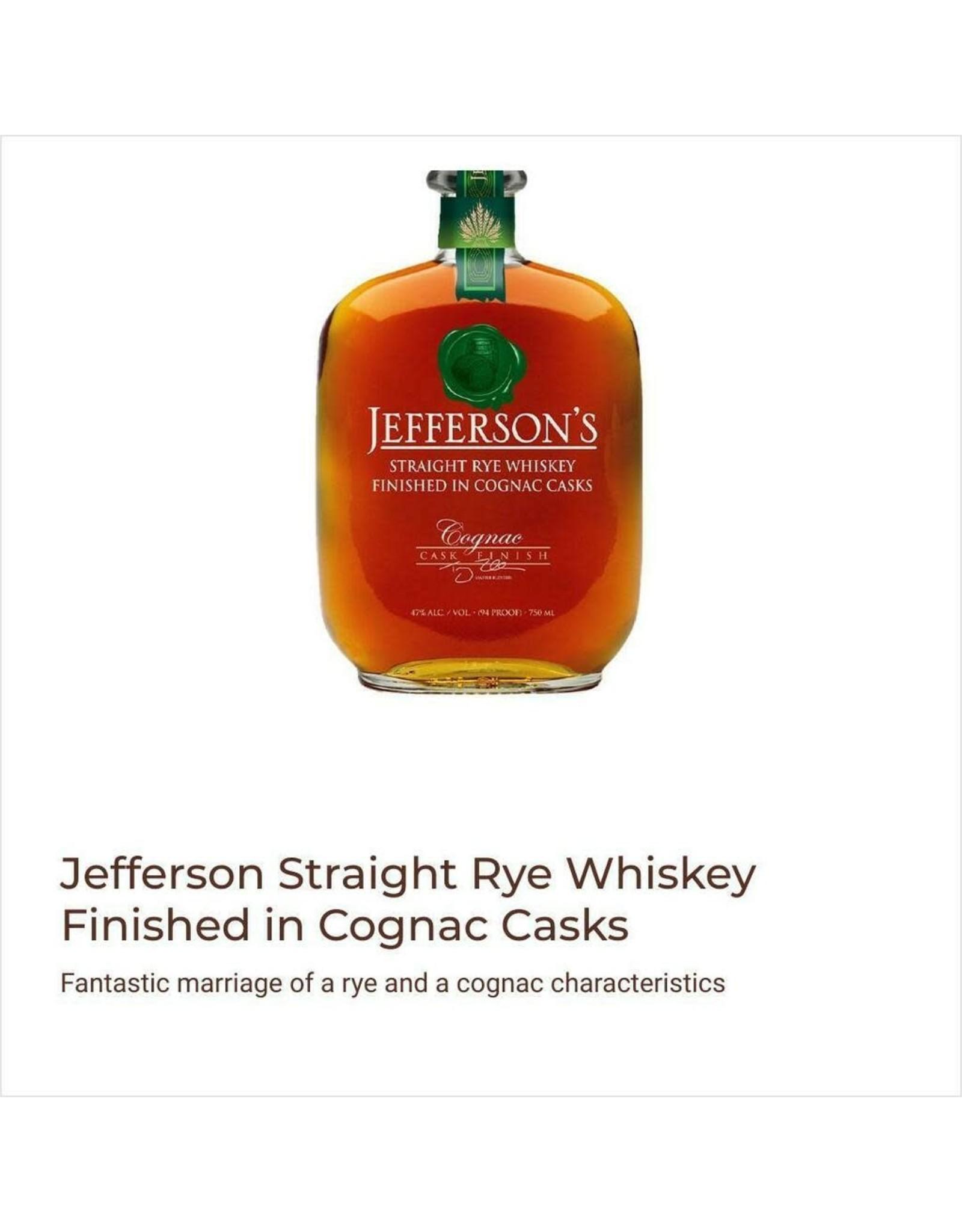 JEFFERSON'S RYE IN COGNAC CASKS 750ML