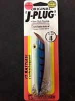 Luhr-Jensen Luhr-Jensen 4 J-Plug (Rattle)  Everglo Blue Top / Ladderback
