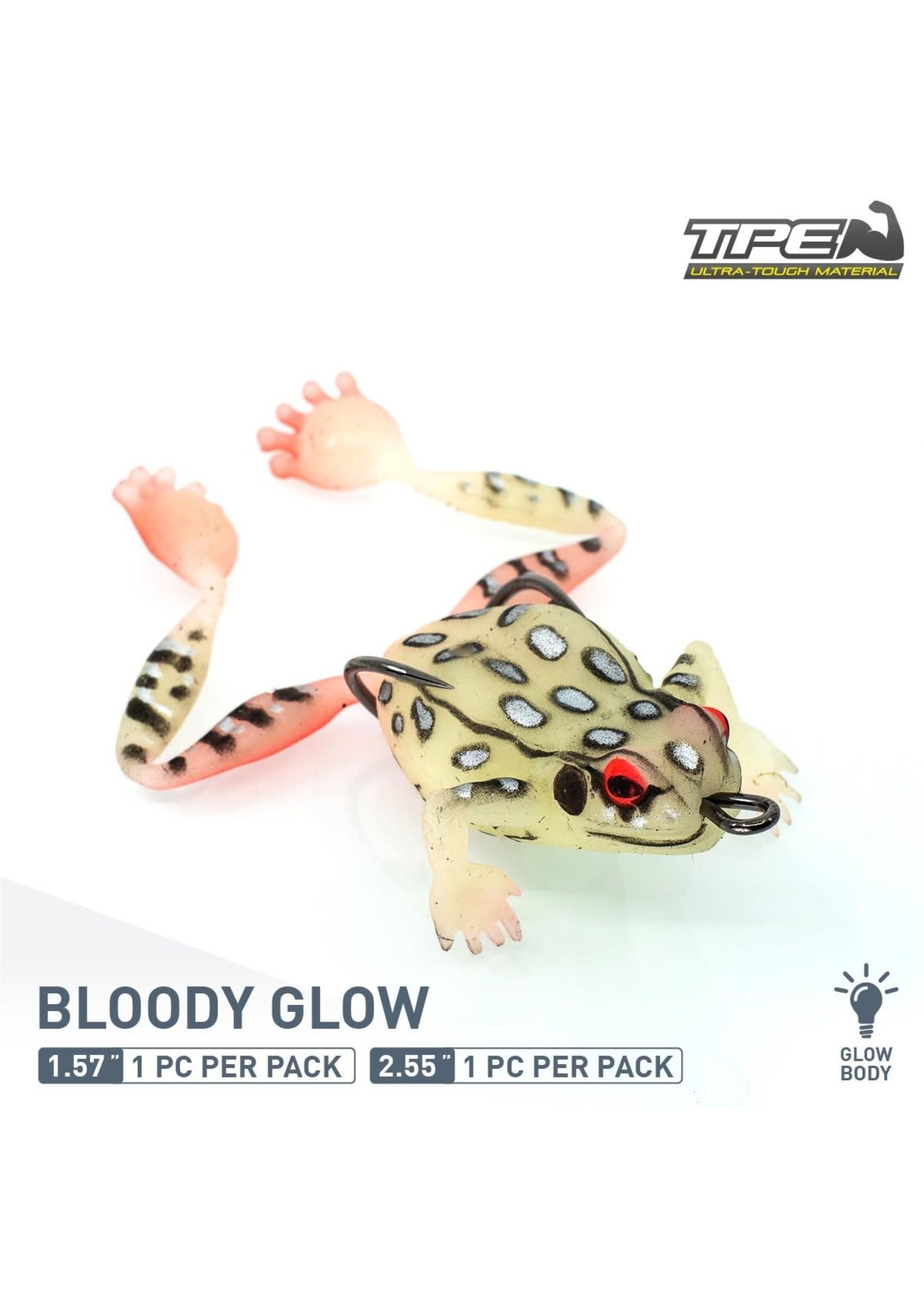 "ChaseBaits Big Bobbin Frog Bloody Glow 2.55"""