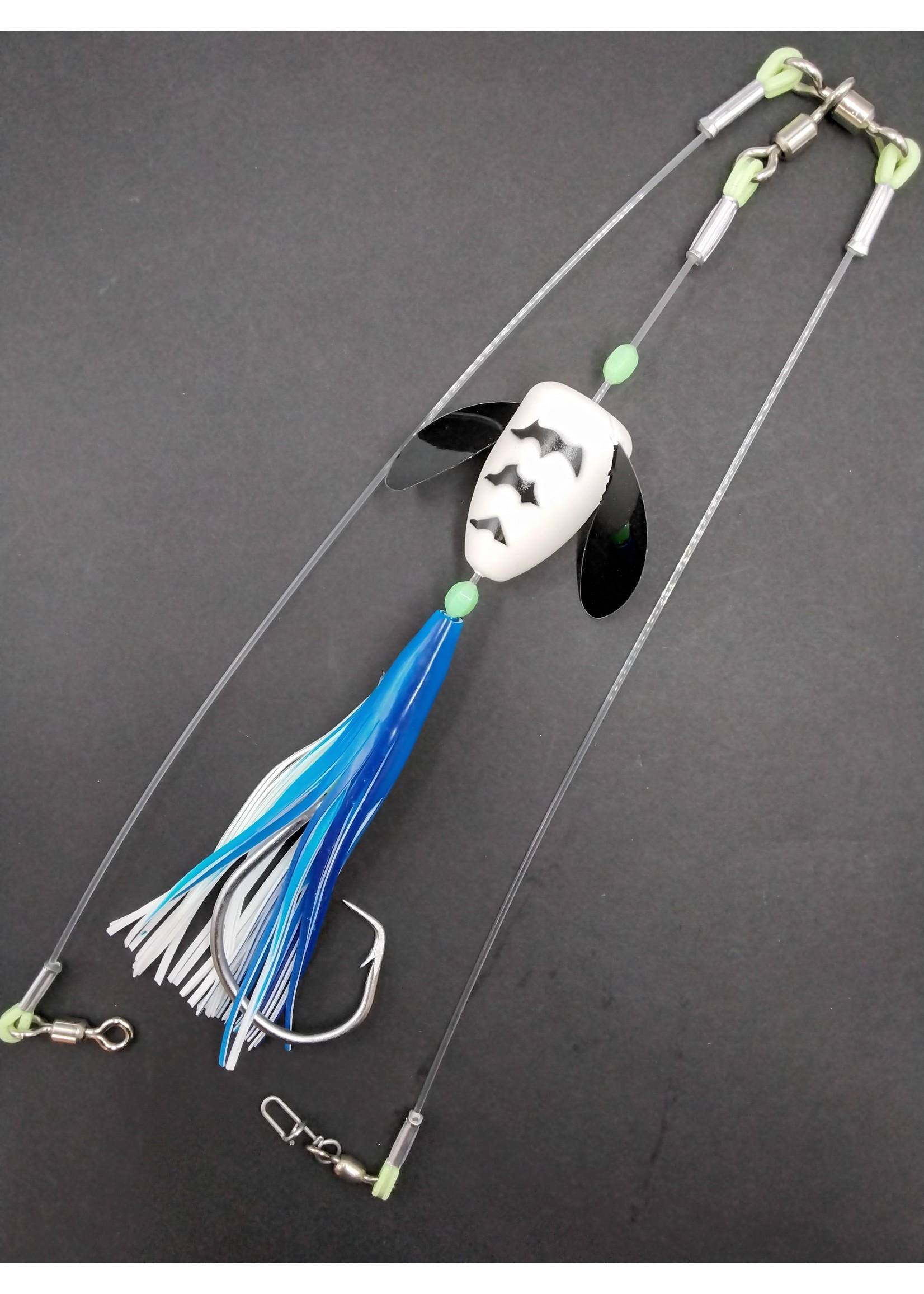 B&J Sporting Goods B&J Halibut Spin N Glo Rig Long Blue/Black/Glow 18/0
