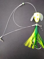 B&J Sporting Goods B&J Tri-Leader Deluxe Spin N Glo Squid Rig Chart/Org Spot16/0
