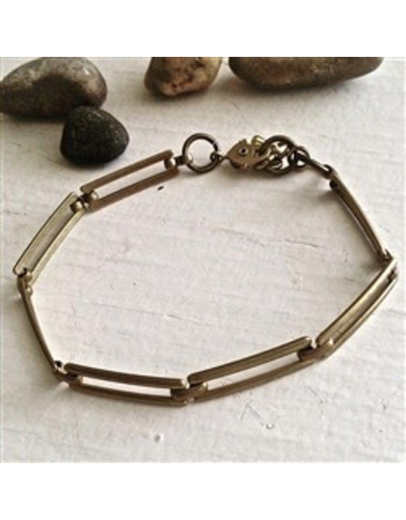 Pika & Bear Lineage Raw Brass Link Bracelet
