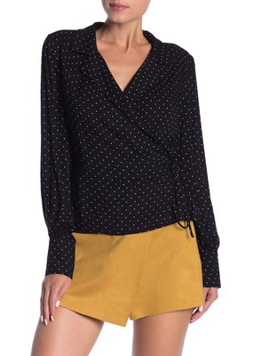 Polka Dot Wrap Blouse