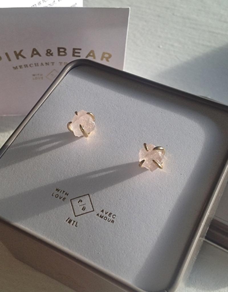 Pika & Bear Quartz Crystal Stud Earring