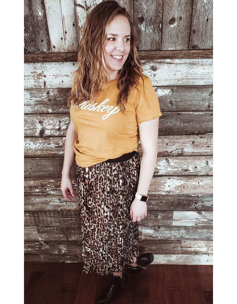 Leopard Print Pleated Skirt