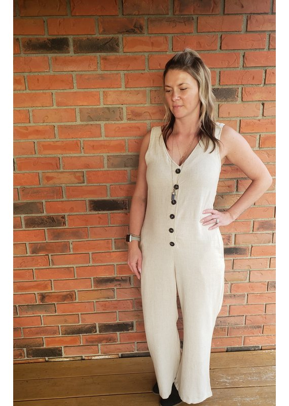 RD International Ang Linen Blend Jumpsuit