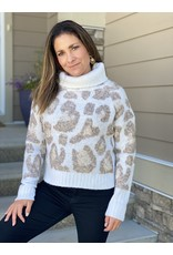 RD International Cozy Animal Print Turtleneck