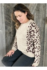 Hem and Thread Printed Sleeve Pullover