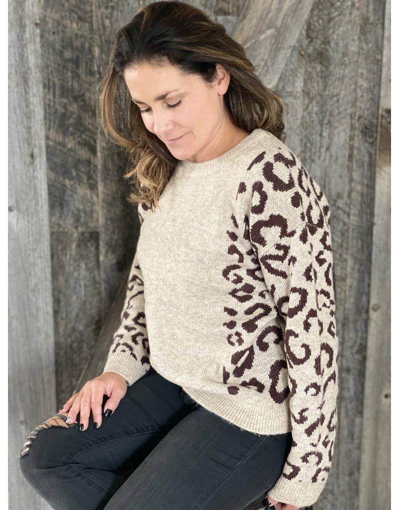 Hem and Thread Printed Sleeve Pullover