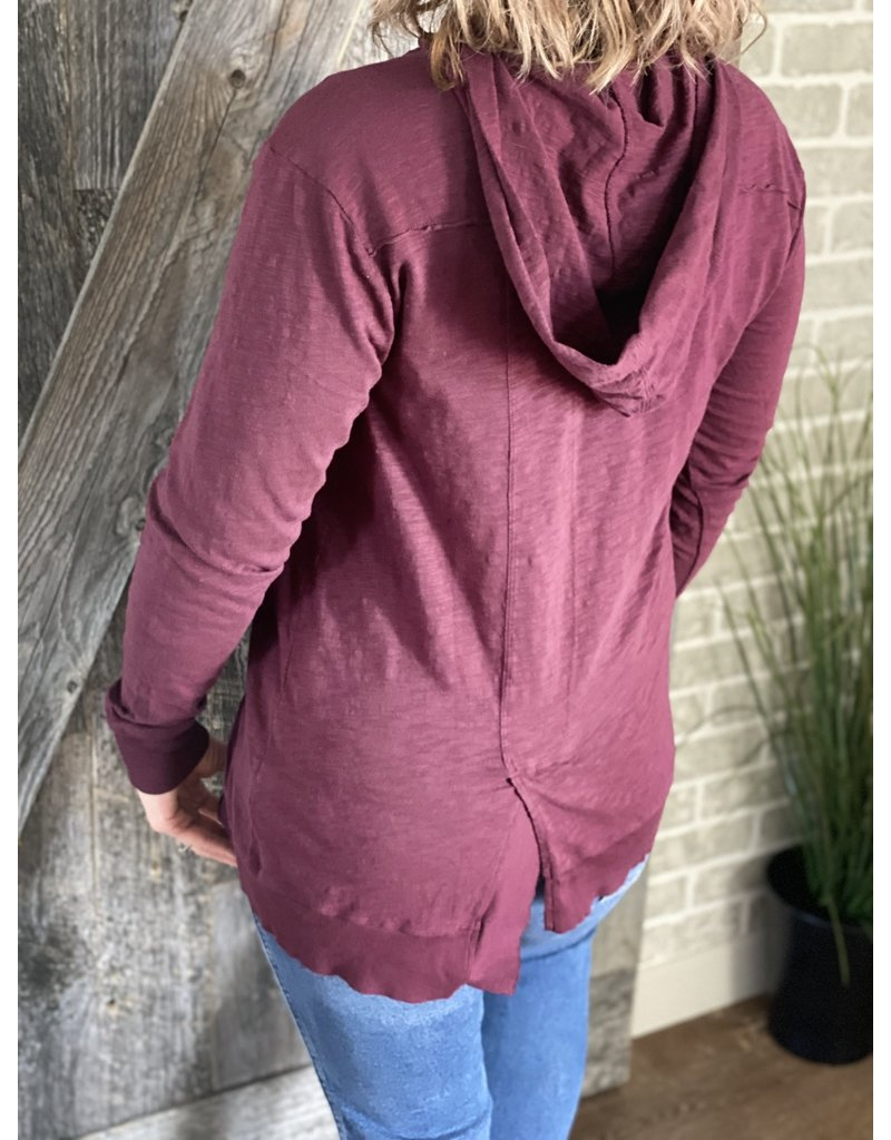Mododoc Hooded Pullover with Uneven Hem