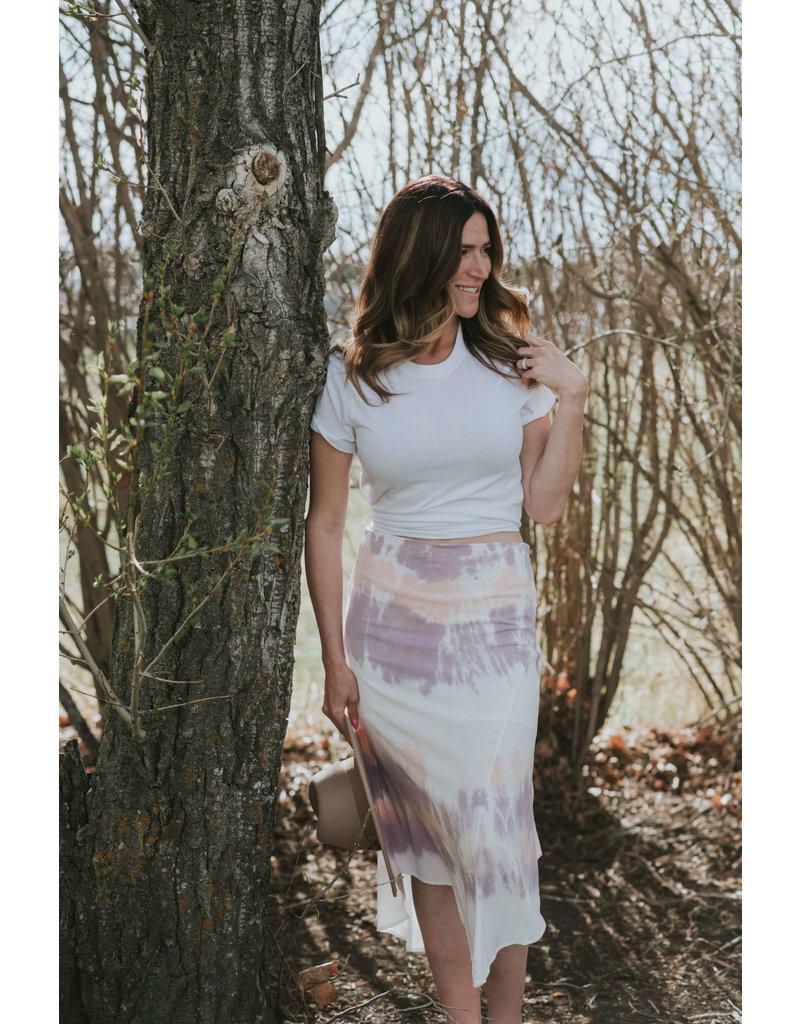 Mododoc Cloud Stain Stretch Asymmetric Draped Skirt