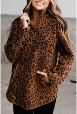 Ampersand Avenue Sherpa Animal Print Rust Pullover