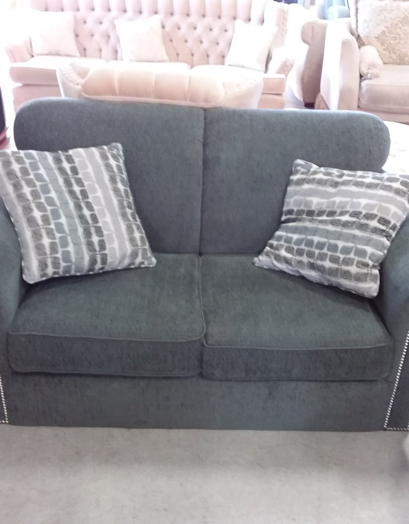 Markham West Store Decor - rest Barber collection fabric loveseat in graphite Gray