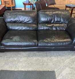 Newmarket Store Black Leather 3-seater Sofa