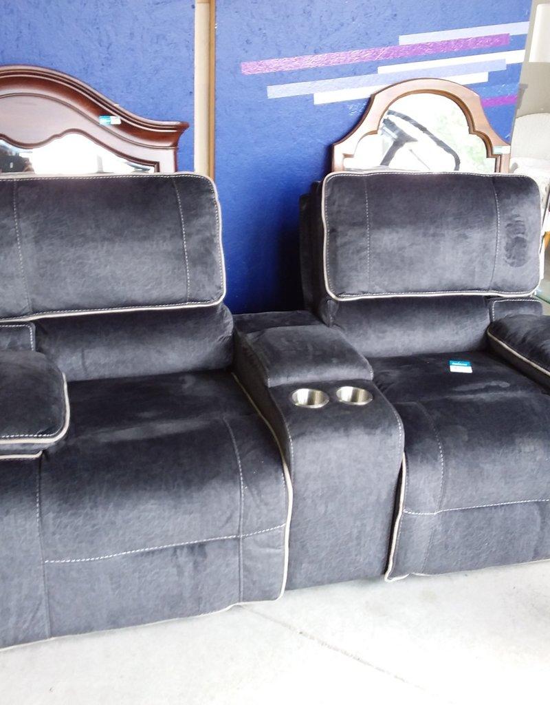 Markham West Store Brassex Houston collection fabric reclining loveseat midnight Grey