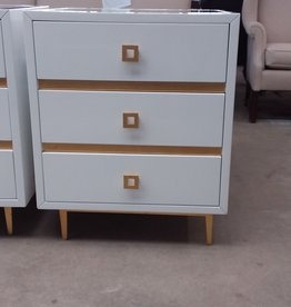 Studio District Store White and Gold Nightstand