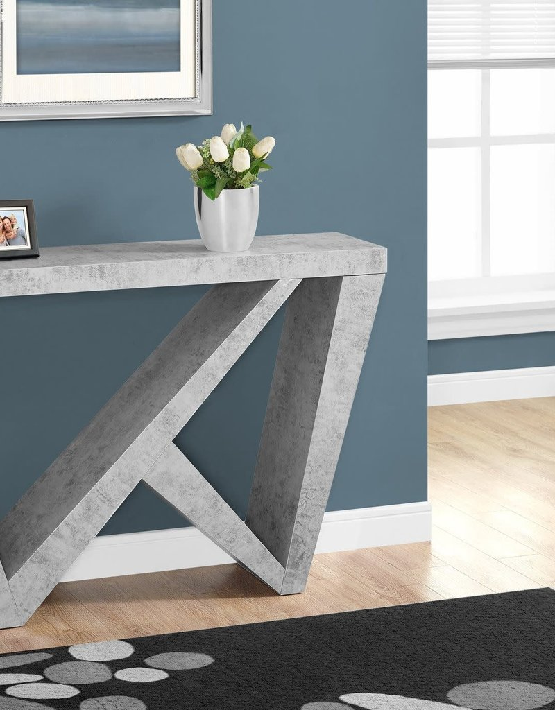 """Markham East Store ACCENT TABLE - 48""""L / CEMENT-LOOK HALL CONSOLE"""