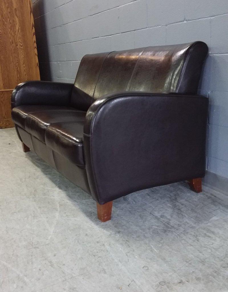 North York Store Black Leather Sofa