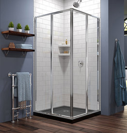 Markham East Store DreamLine Corner view Shower Enclosure in Chrome with Black Acrylic Base