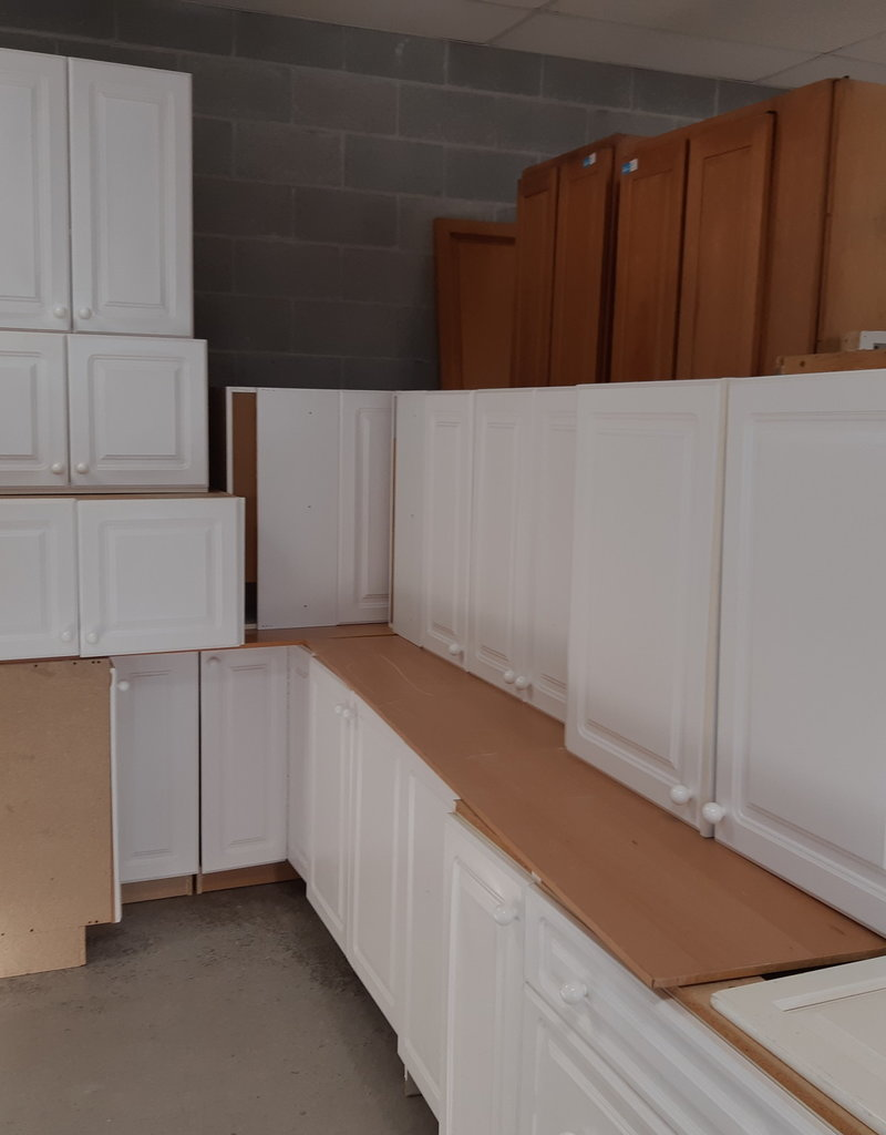 East York Store Set of white kitchen cabinets