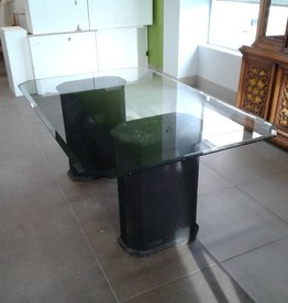 Woodbridge Store Twin Pedestal Tempered Glass Table