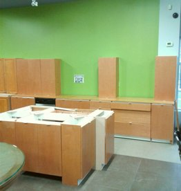 Woodbridge Store Maple Color Kitchen with Island & Pantries