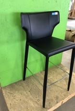 Markham West Store Black Leather Bar Stool