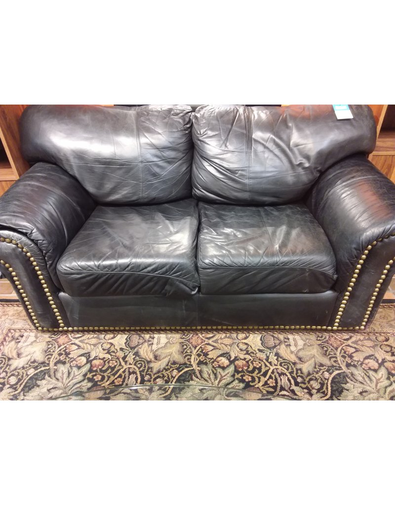 Vaughan Black Faux Leather Loveseat